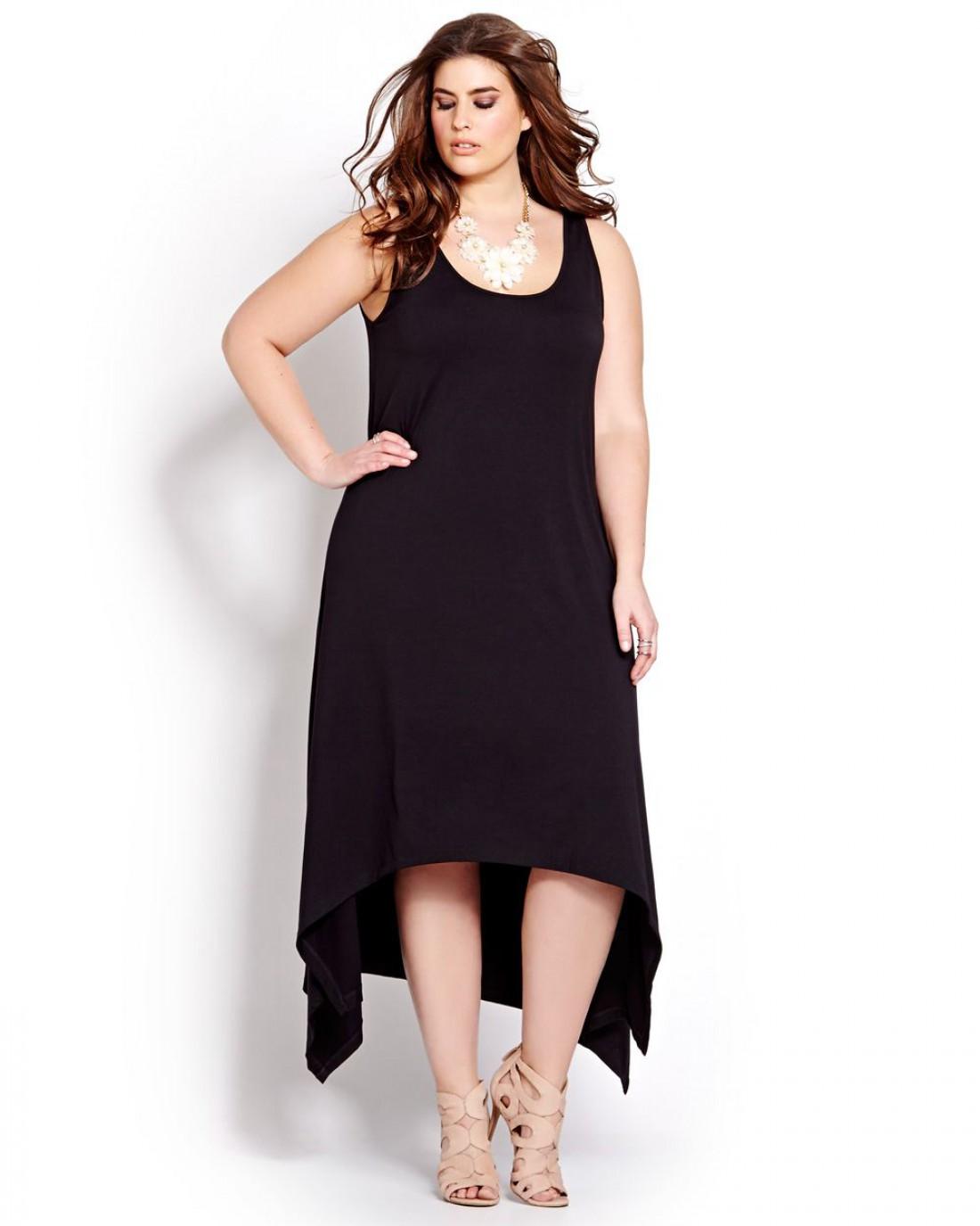 Платье на Новый год для полных девушек: с асимметричным подолом