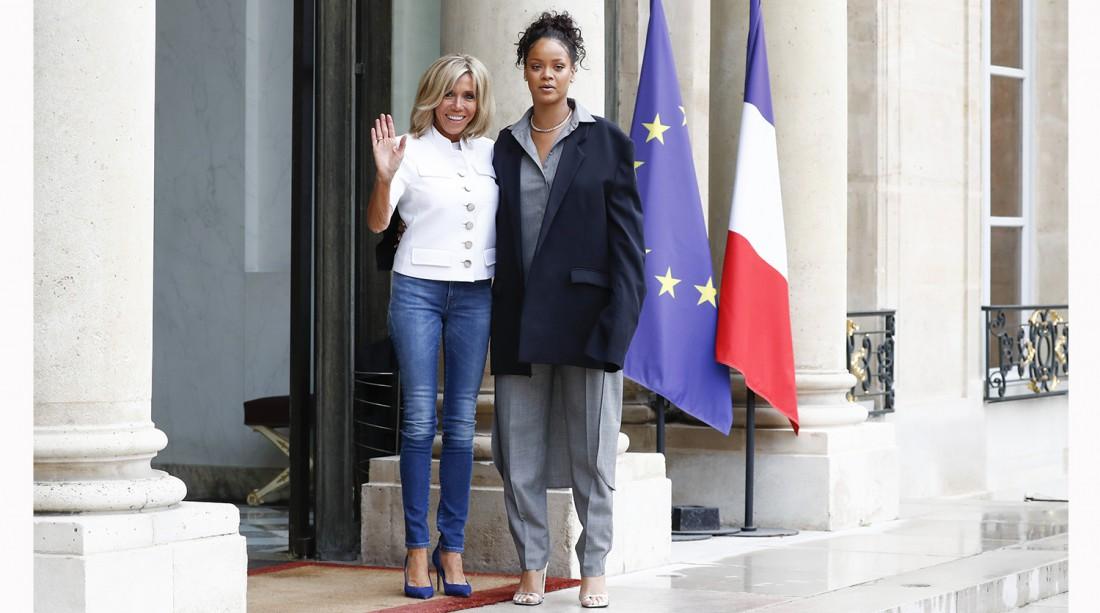 Рианна и Брижит Макрон в Париже