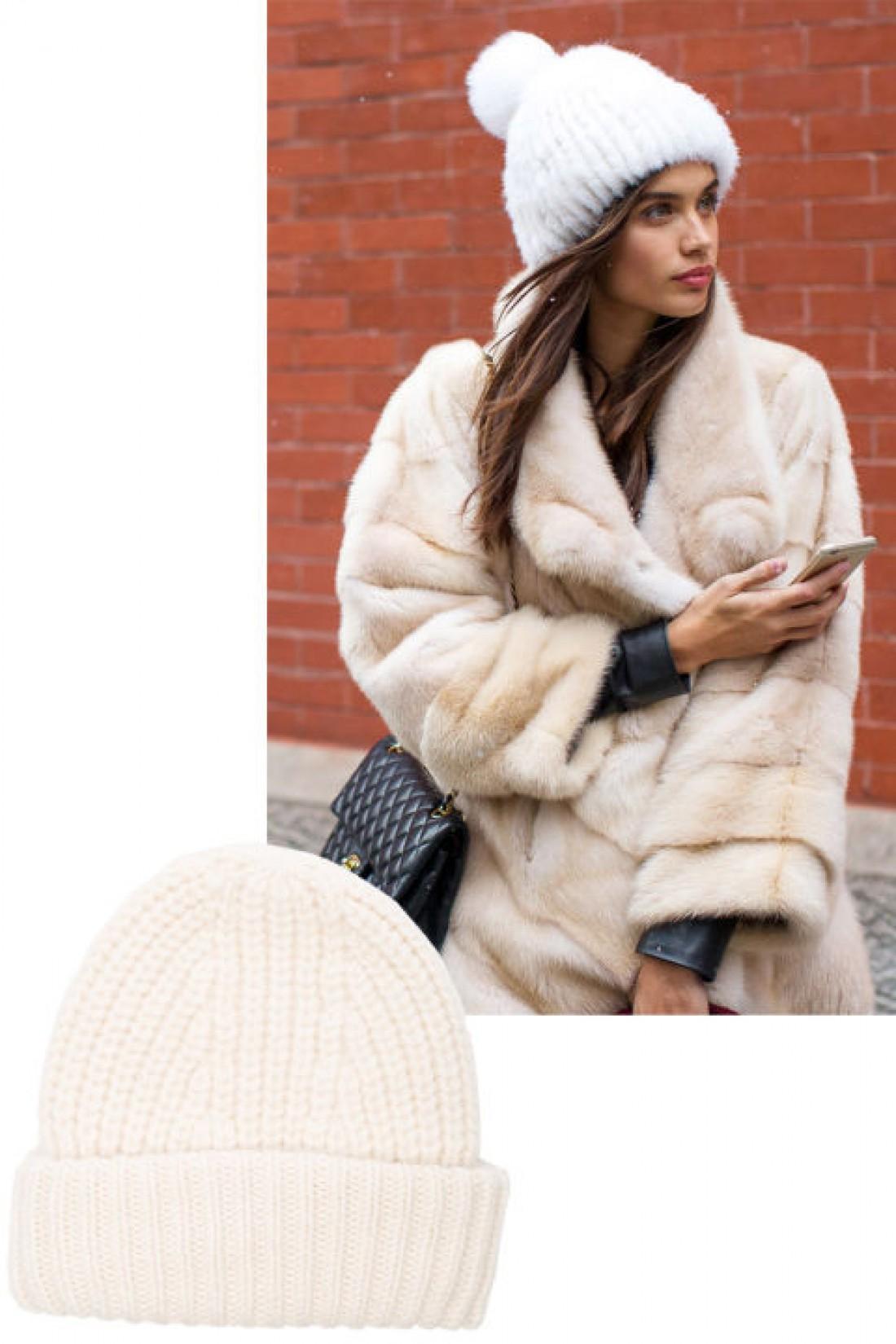 Модные головные уборы 2016: пушистая шапка