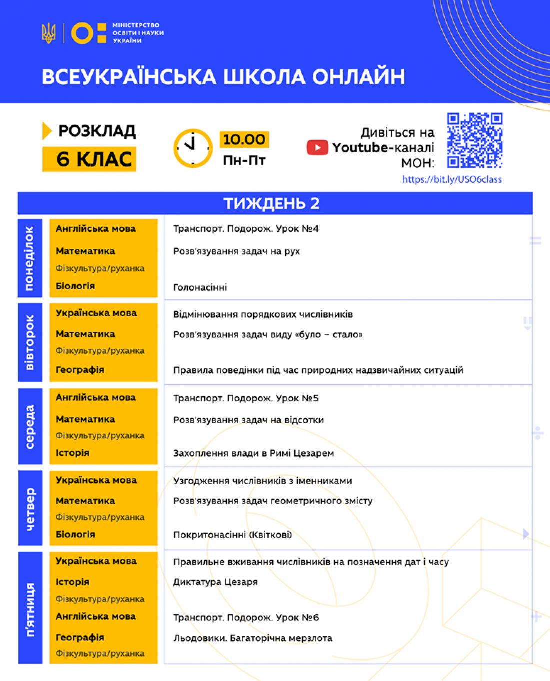 Всеукраинская школа онлайн: Расписание для 6 класса