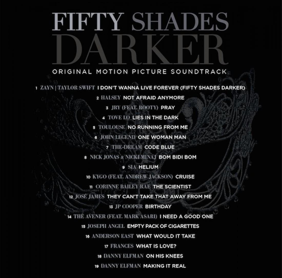 50 оттенков темноты: список саундтреков
