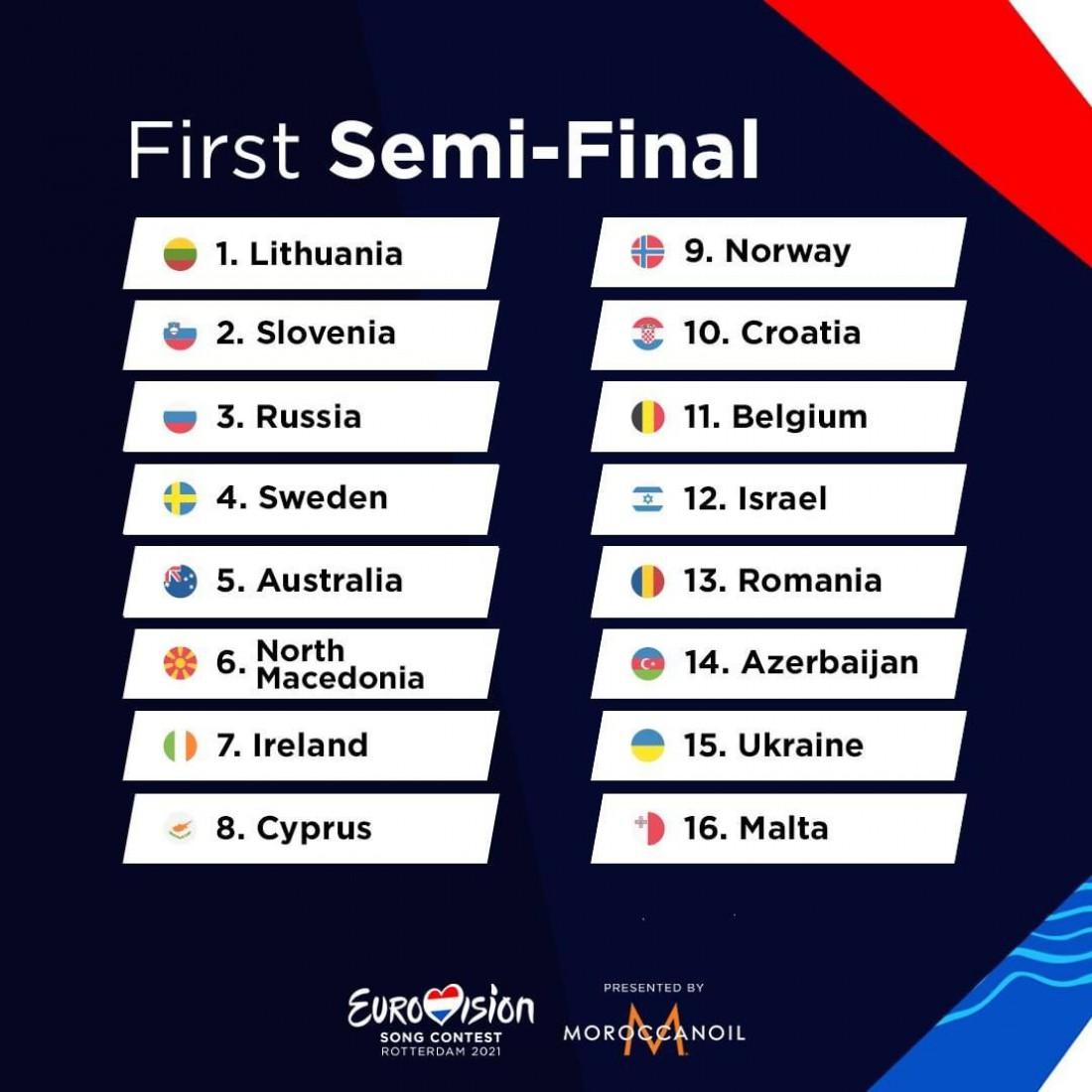 Первый полуфинал Евровидения 2021