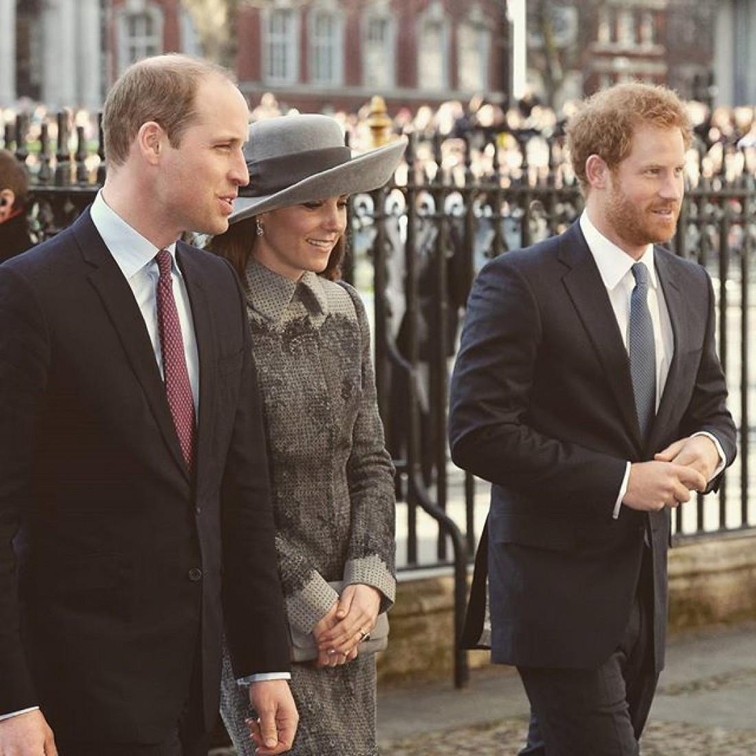 Кейт Миддлтон и принцы Уильям и Гарри