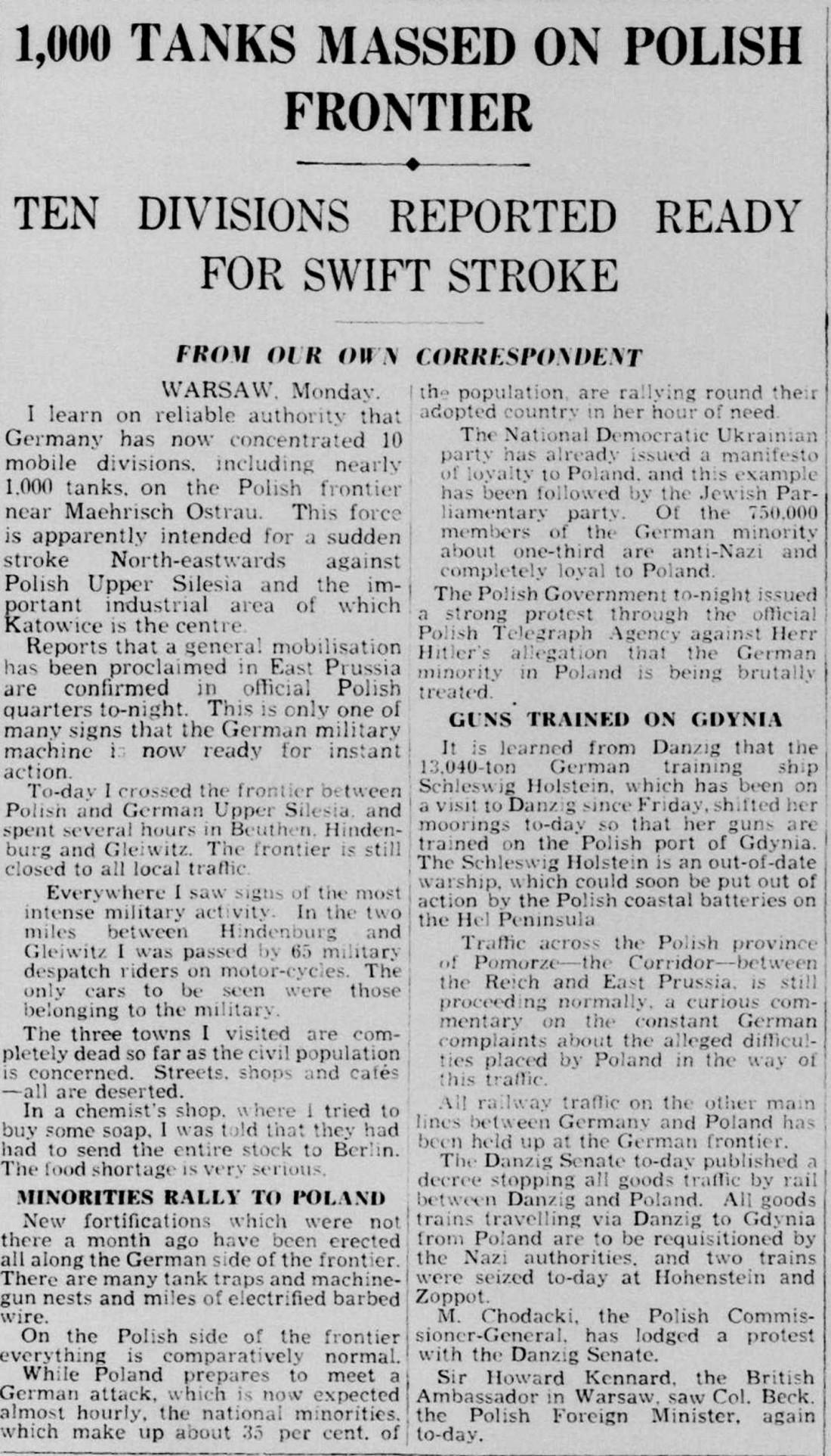 29 августа, 1939 год: публикация в газете