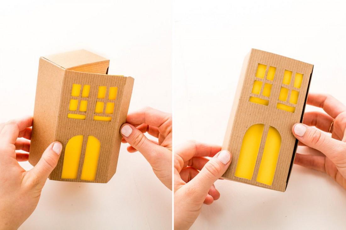 Картонный домик – идеальный декор на Новый год