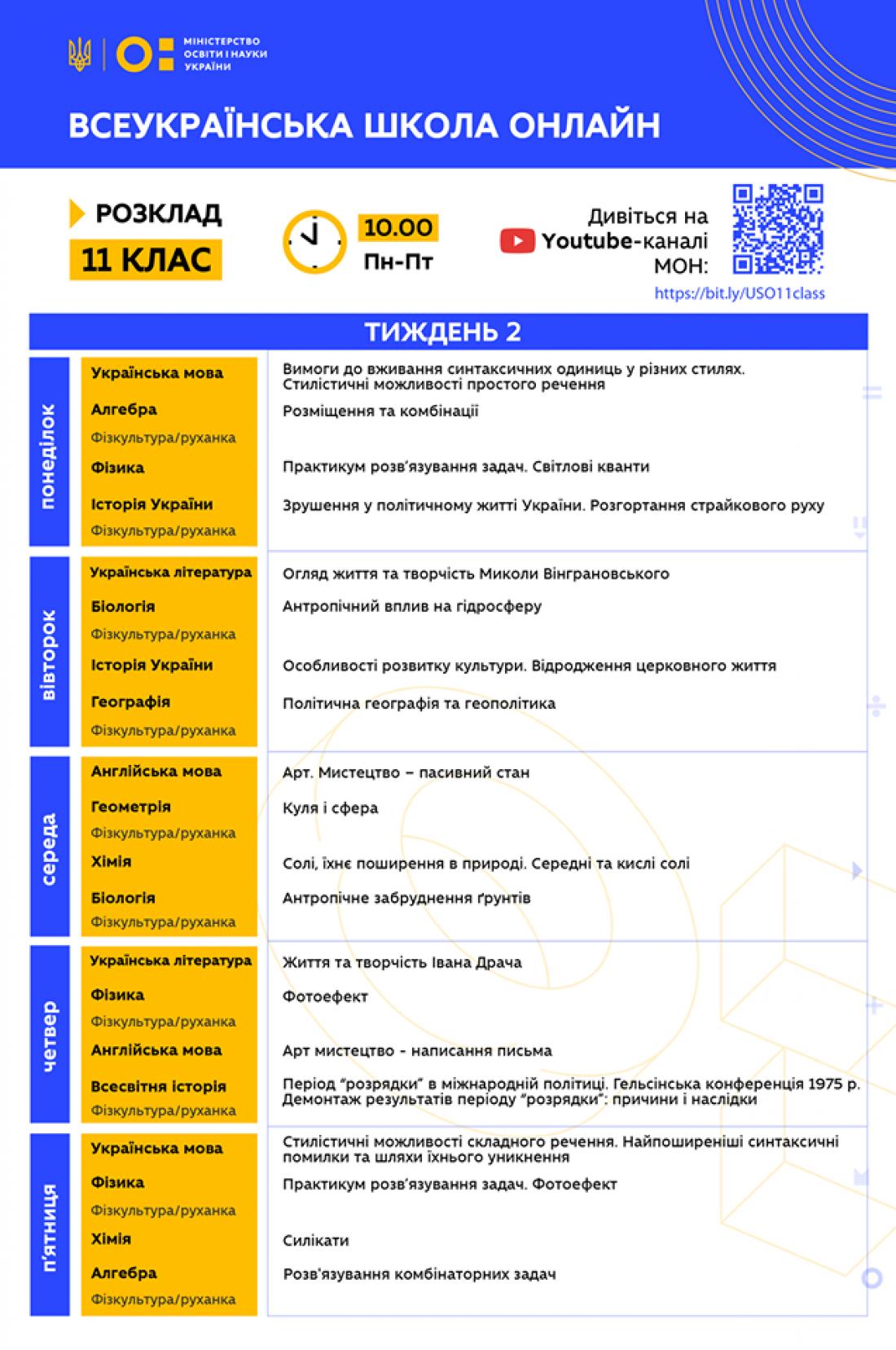 Всеукраинская школа онлайн: Расписание для 11 класса