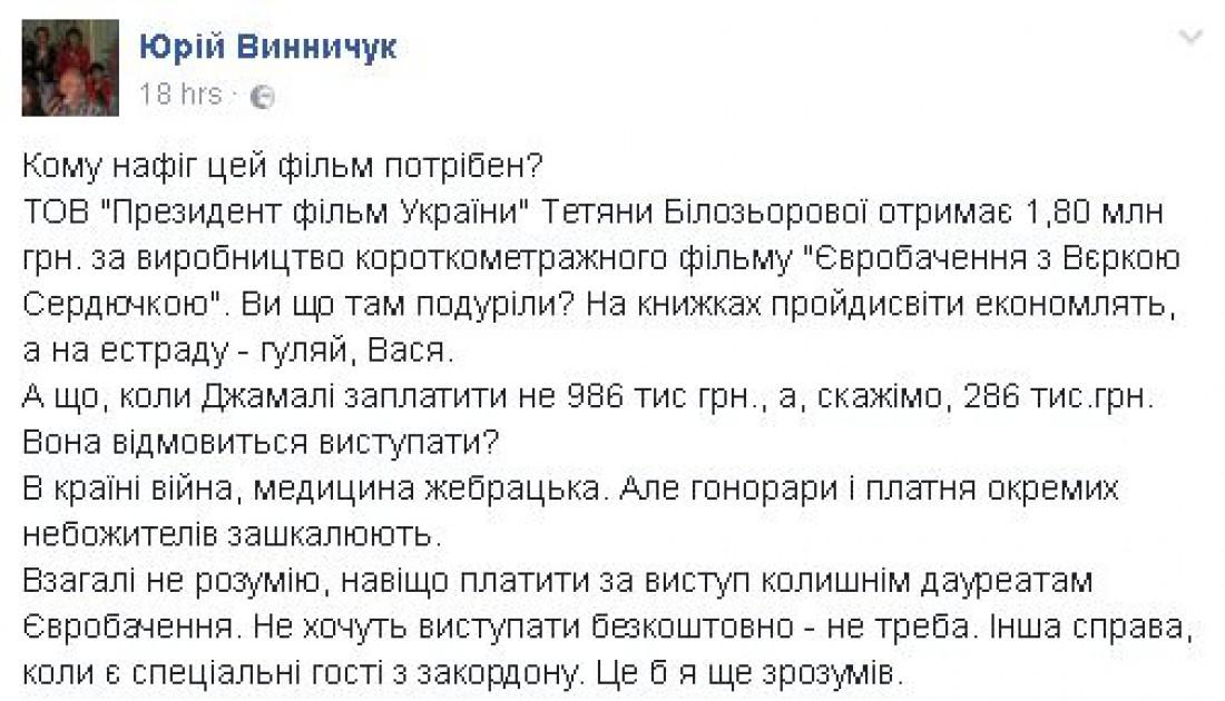 Запись на стене Юрия Винничука
