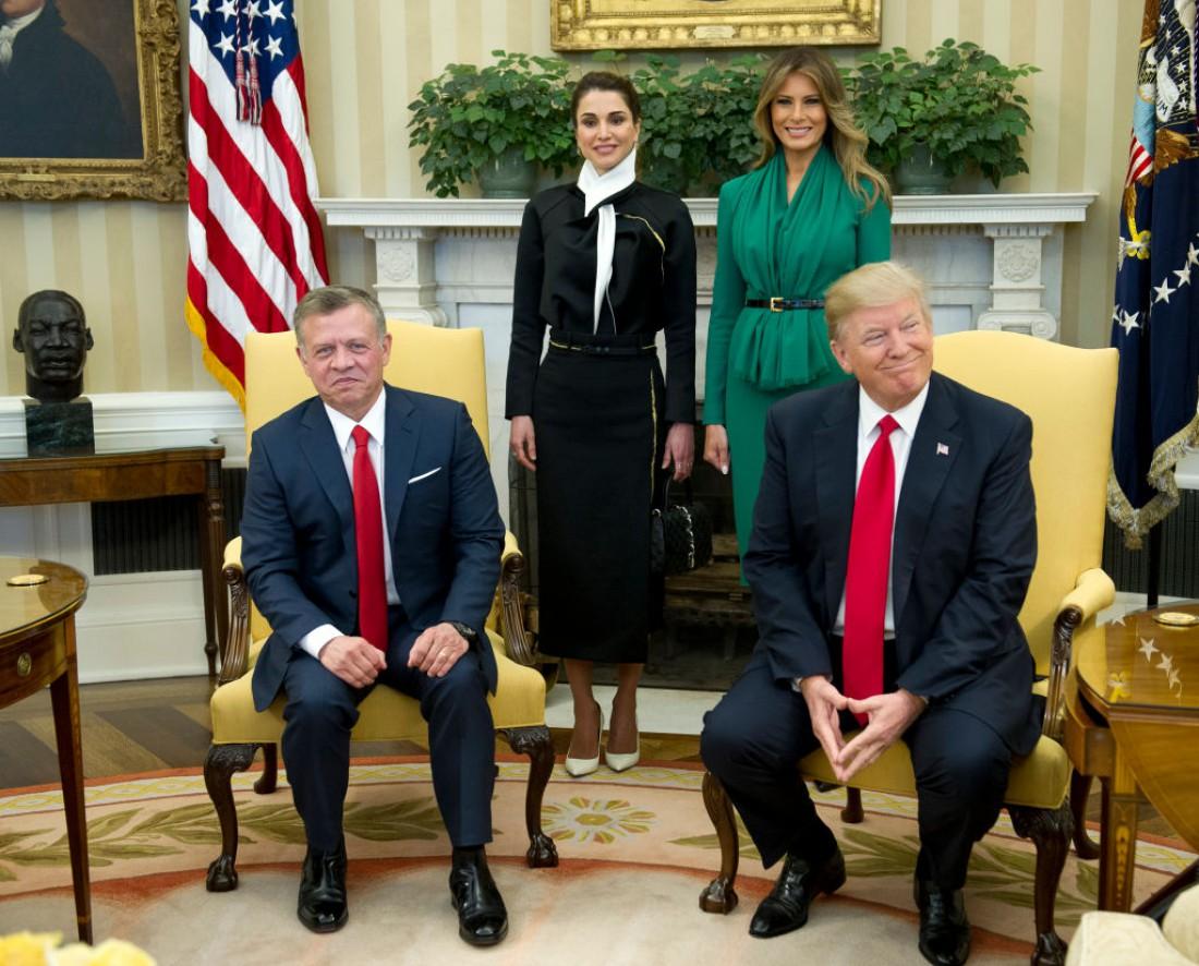 Король Иордании Абдалла II и королева Рания, Меланья и Дональд Трамп