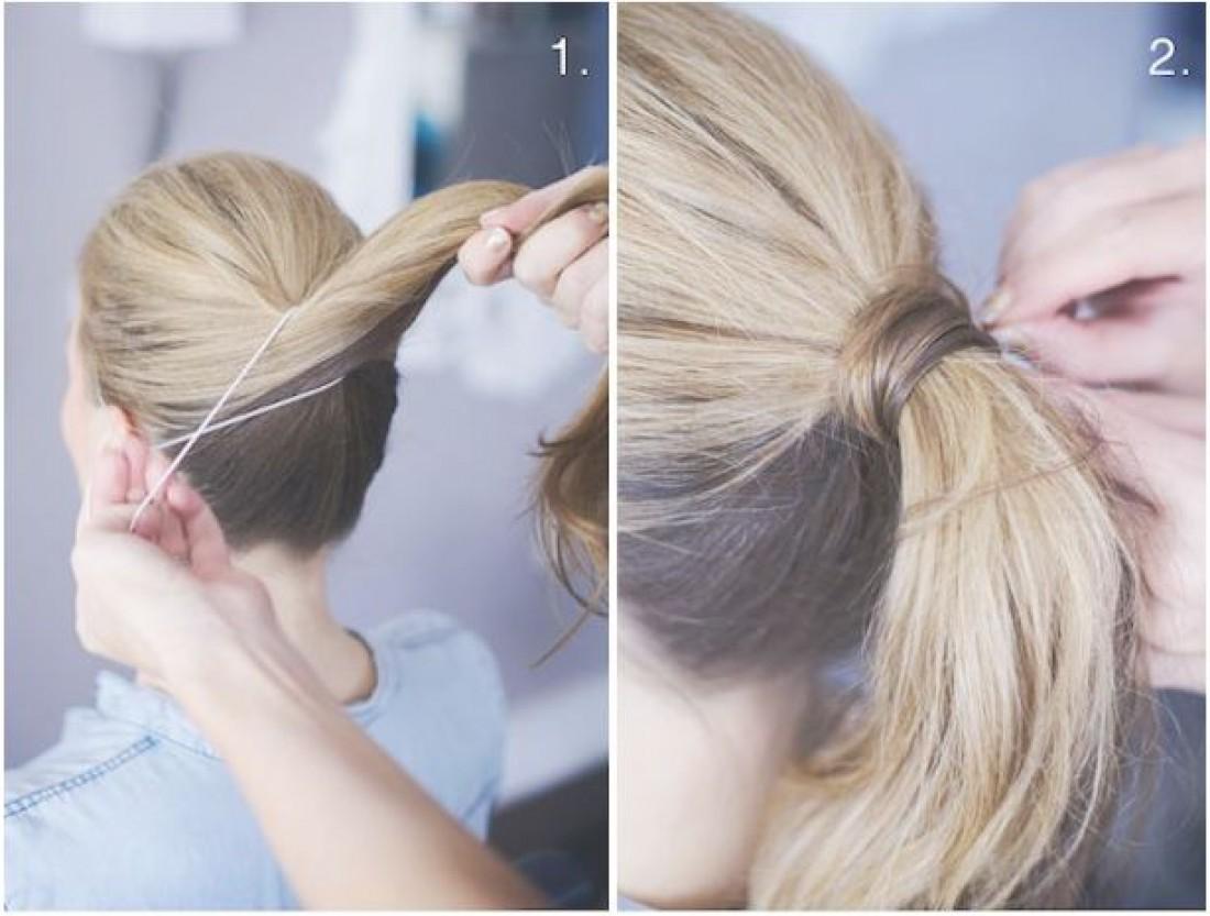 Как сделать на хвост резинку из своих волос