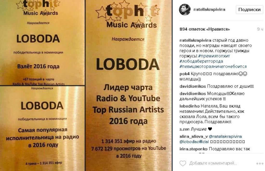 Награды LOBODA на российской премии Tophit Music Awards