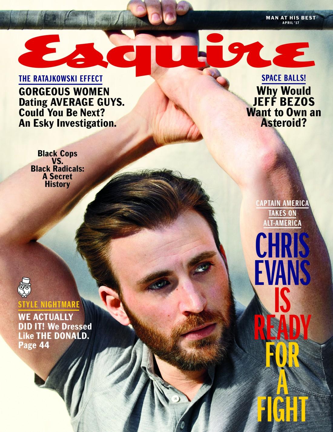 Крис Эванс на обложке Esquire