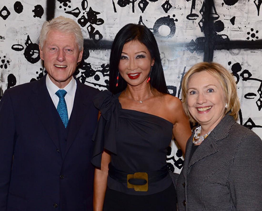 Лина Ху с Биллом и Хиллари Клинтон