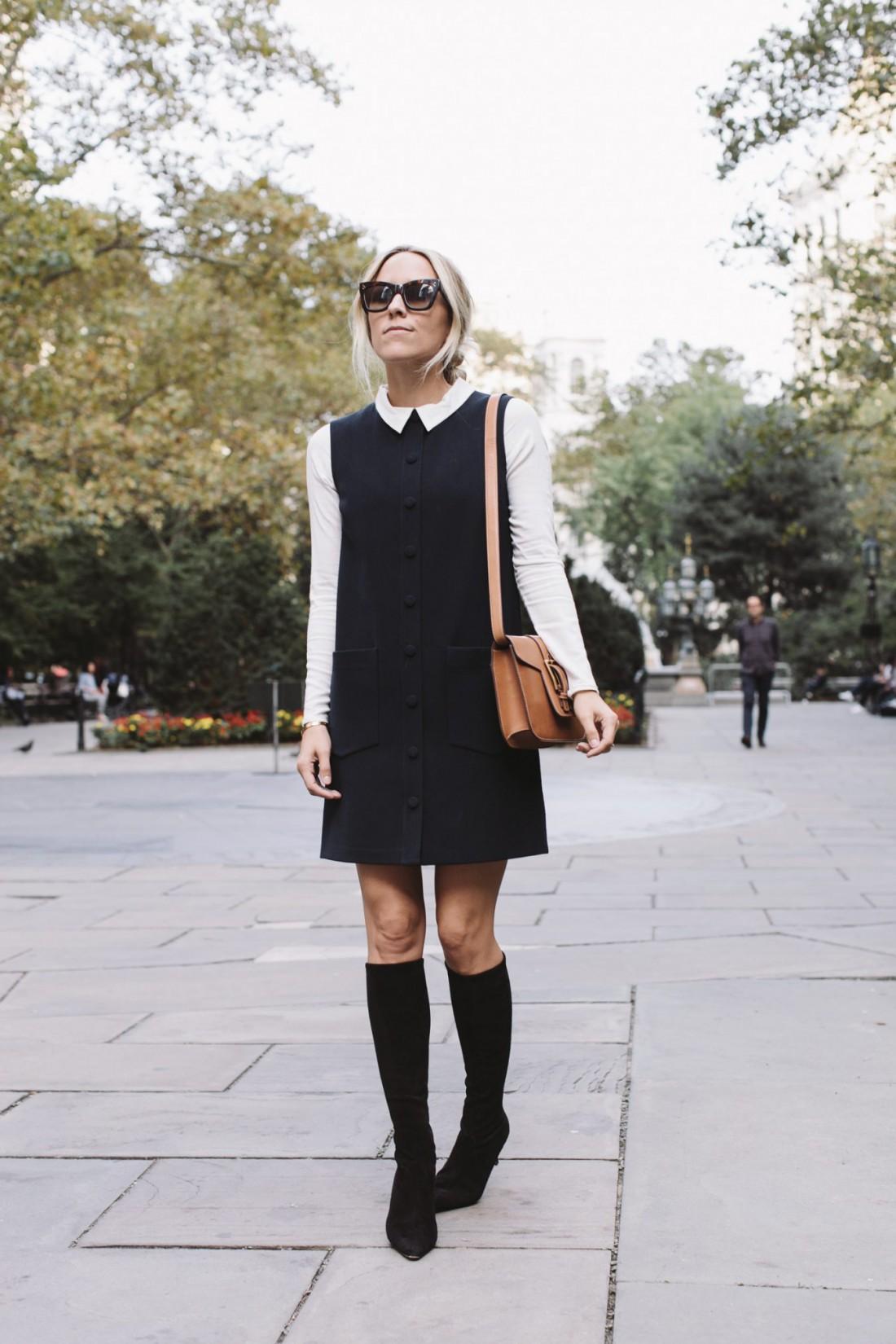Черное платье + белая блузка