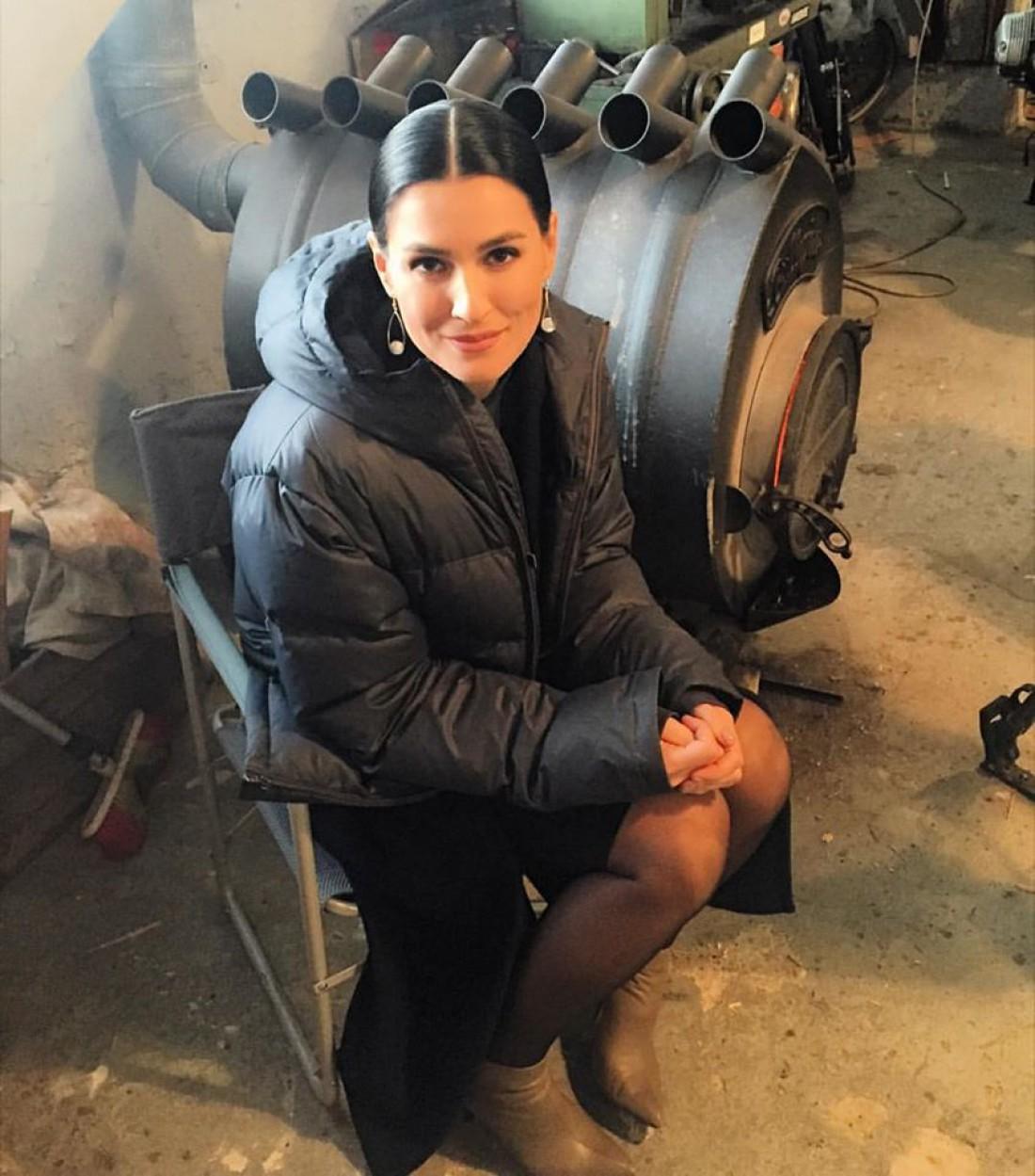 Маша Ефросинина на съемках сериала Тройная защита