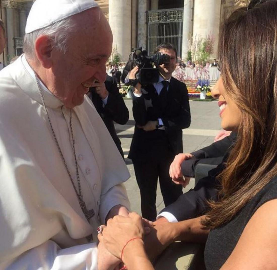 Ева Лонгория с Папой Римским Франциском