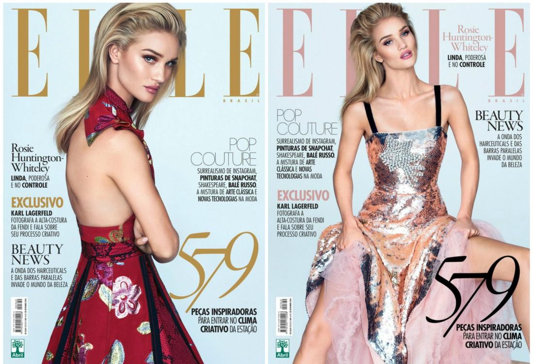 Рози Хантингтон-Уайтли на новых обложках Elle