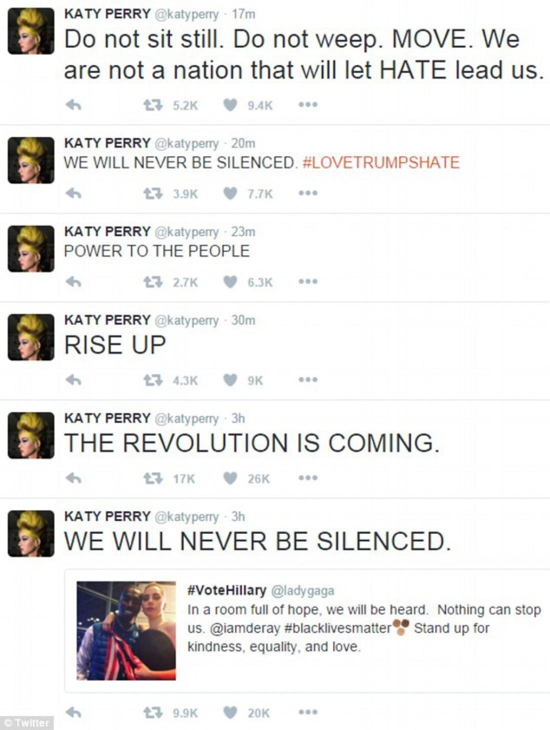 Кеті Перрі: Не сидіть на місці, не плачте. Рухайтесь! Ми не нація, якщо дозволимо ненависті управляти нами. Сила у людях. Насувається революція.