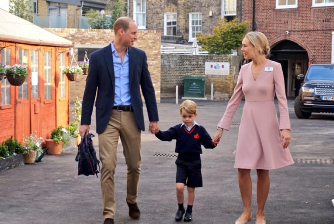 Принц Уильям и принц Джордж идут в школу