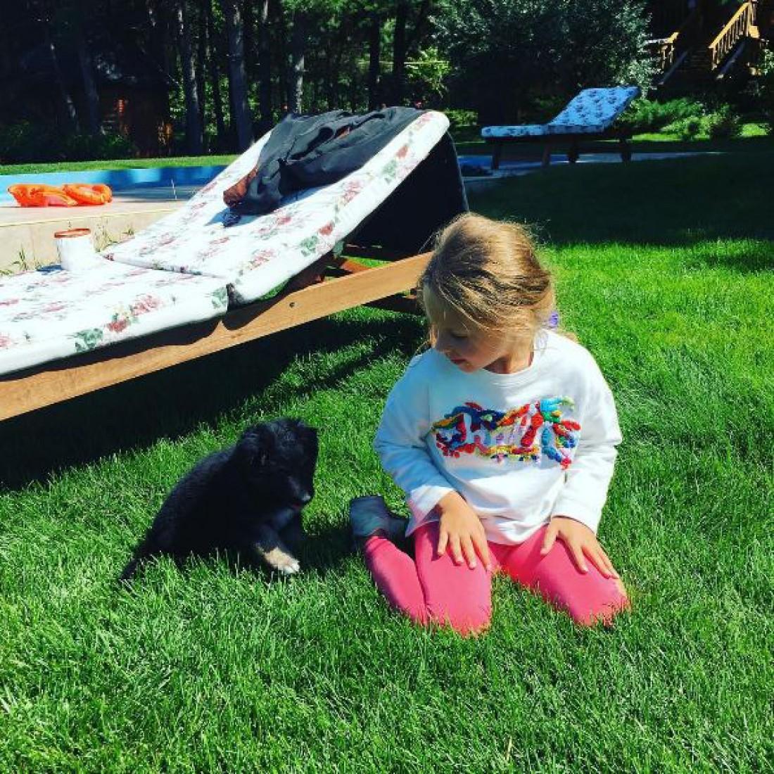 Дочь Оли Поляковой Алиса с новой собакой