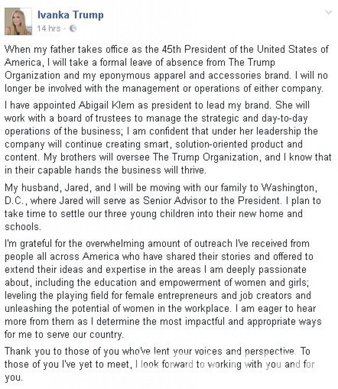 Пост Иванки Трамп в Facebook