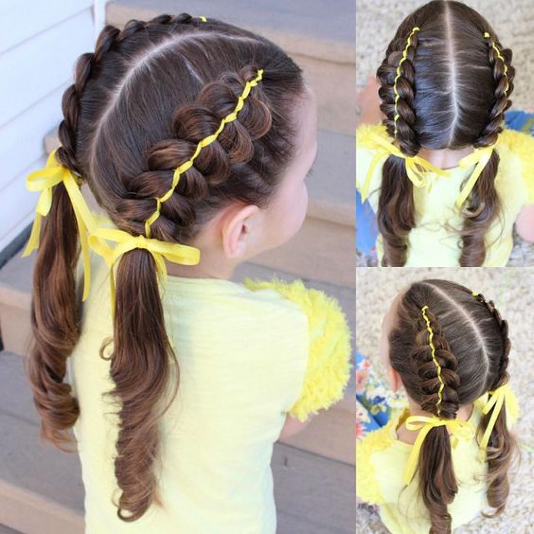 Прически в школу с лентами для длинных, средних и коротких волос