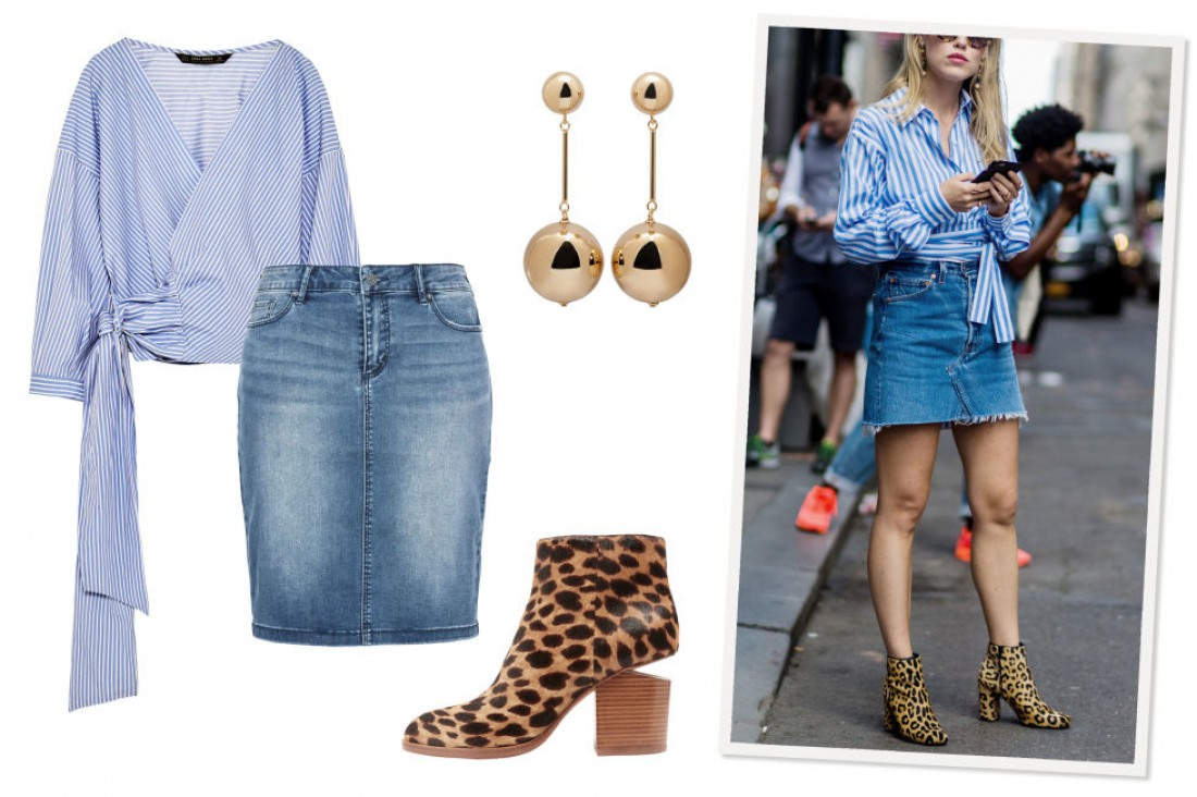 Рубашка в полоску + джинсовая юбка