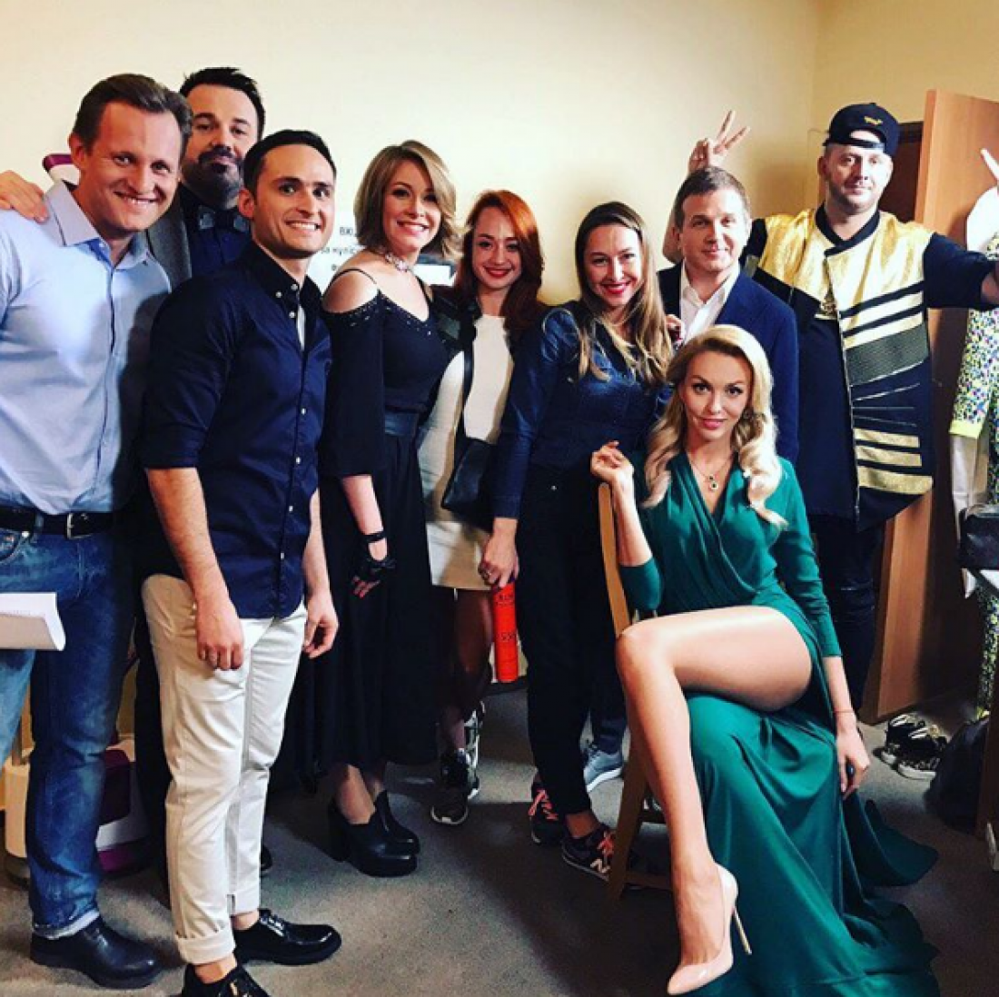 Елена Кравец с командой на съемках полуфинала Лиг Смеха
