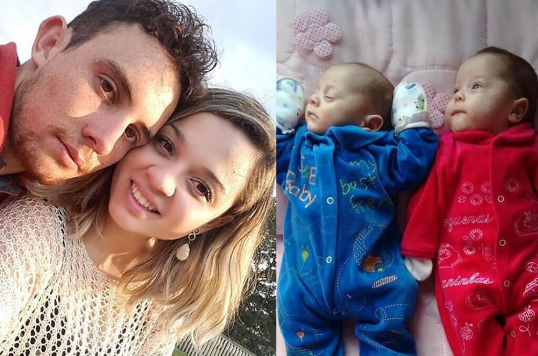 Муриэл Падилья с женой и новорожденные близнецы