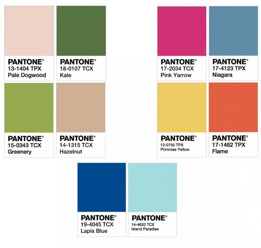Цвета 2017 года по версии Pantone