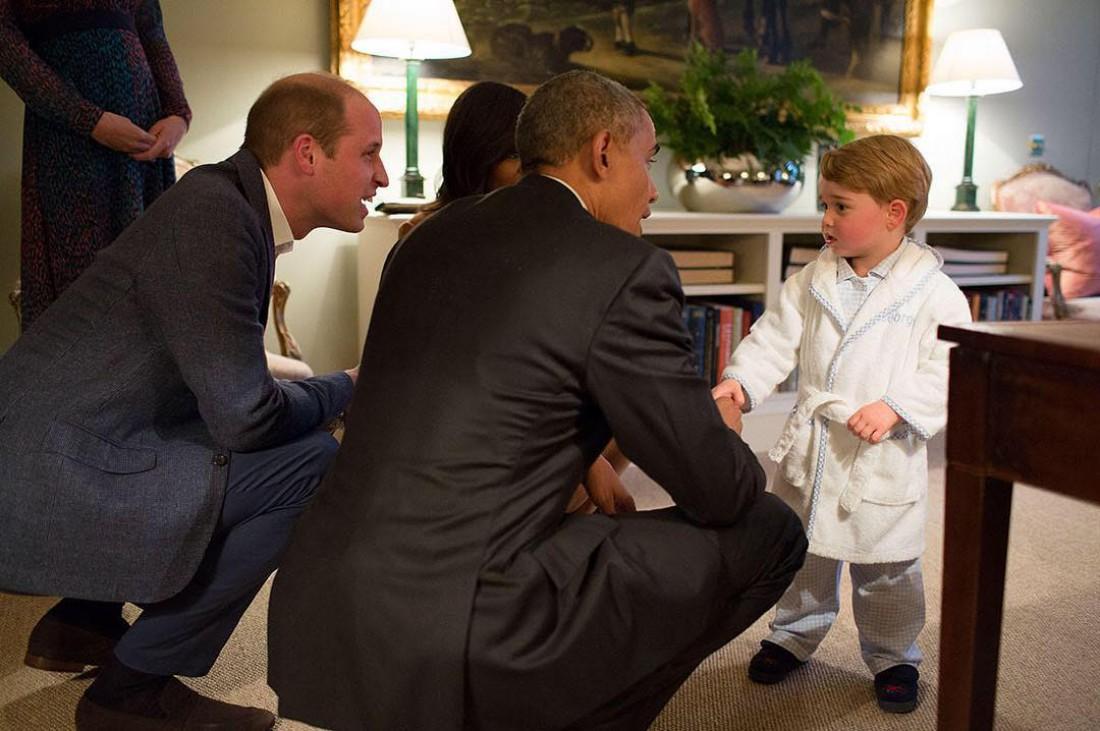 Принц Джордж знакомится с Бараком Обамой