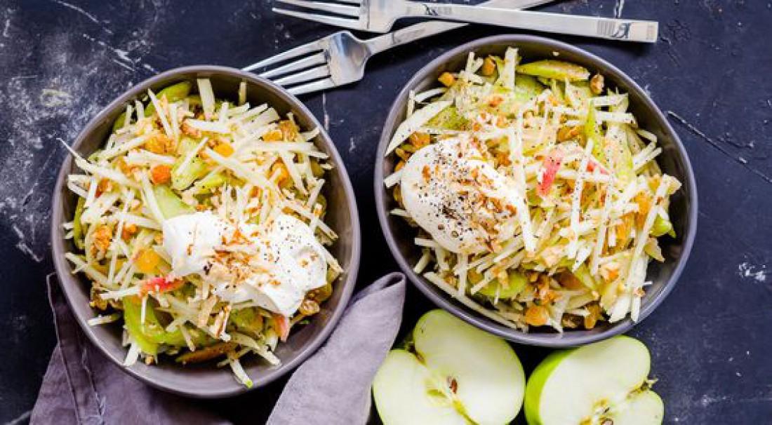 Летние салаты на каждый день: Зеленый салат с тофу и яблоком