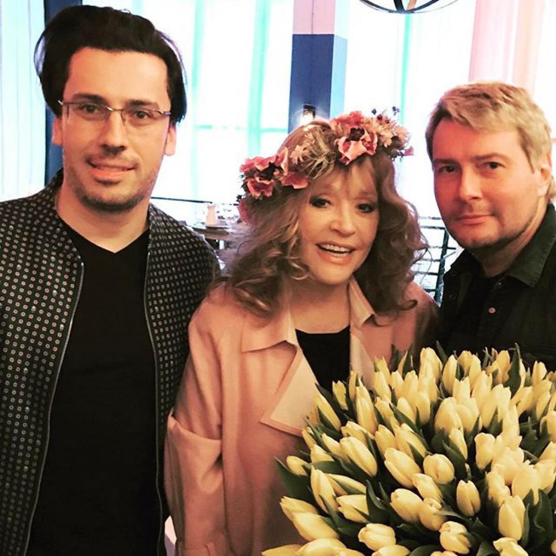 Супруги Галкин и Пугачева с артистом Николем Басковым