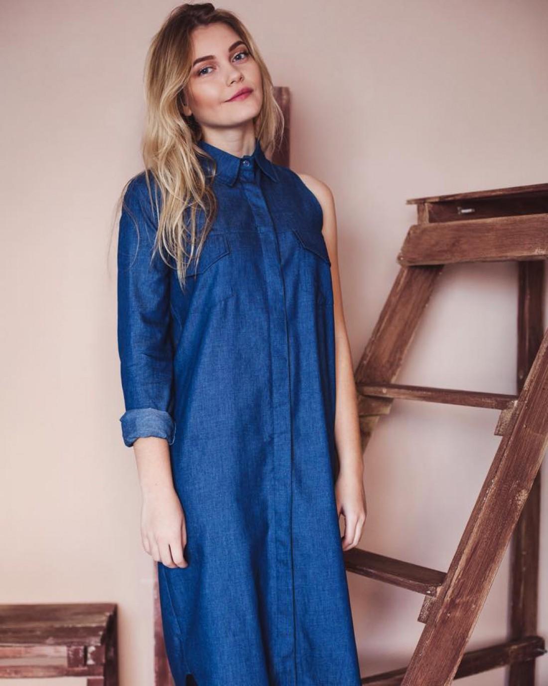 Платье-рубашка из синего денима