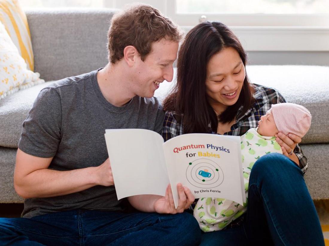 Марк Цукерберг с женой Присциллой Чан с новорожденной дочкой