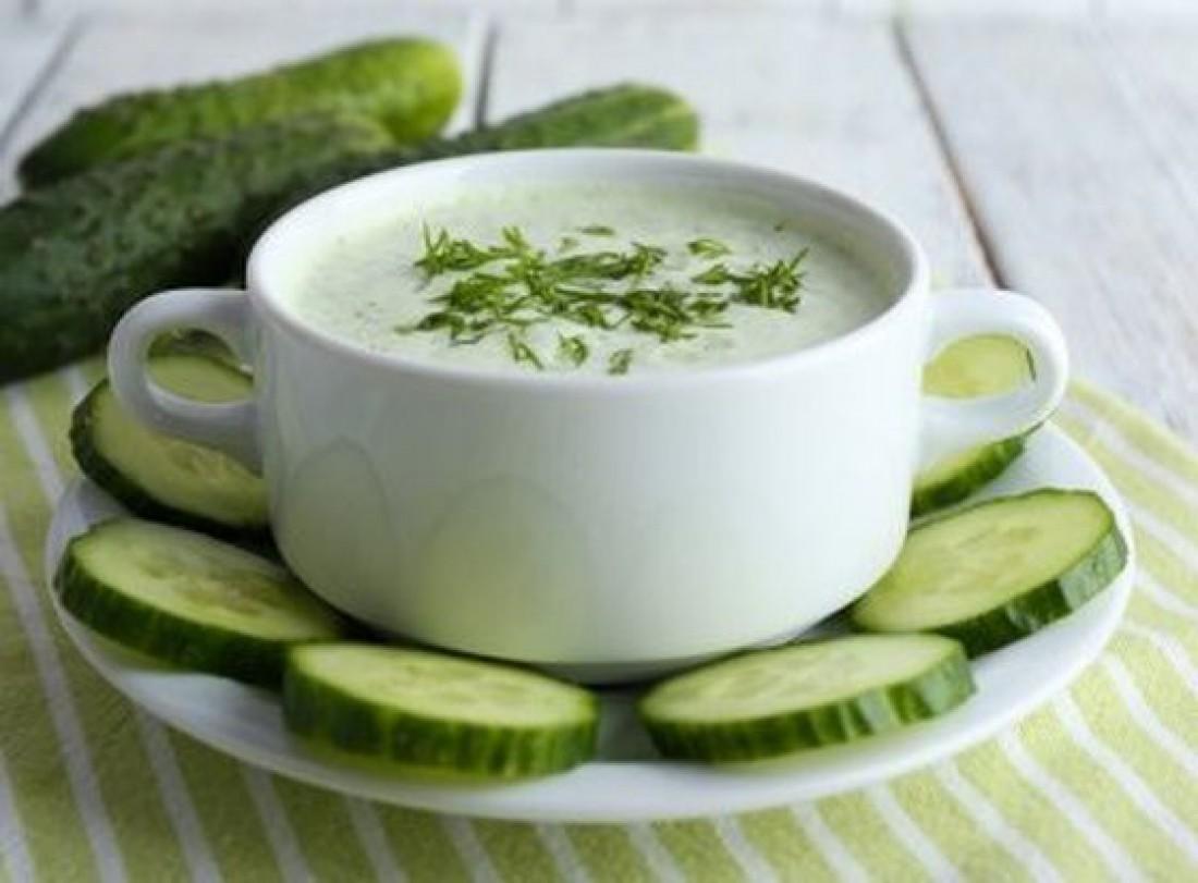 Холодный огуречный суп с картофелем
