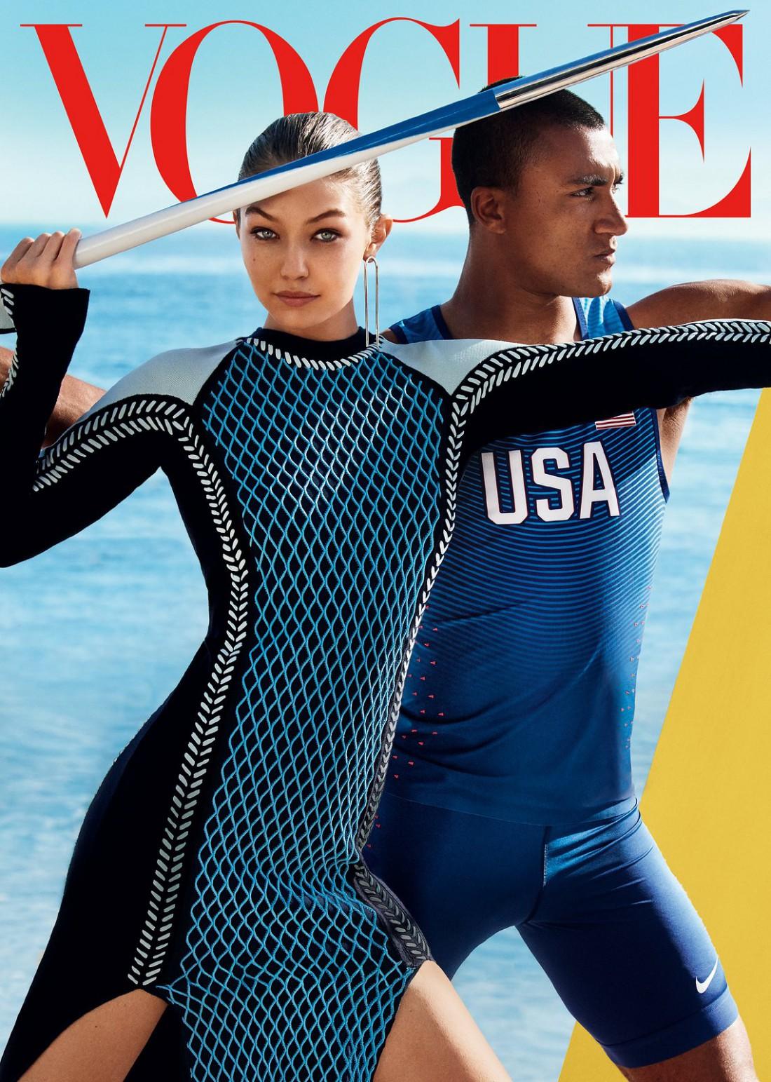 Джиджи Хадид и Эштон Итон в новой фотосессии Vogue