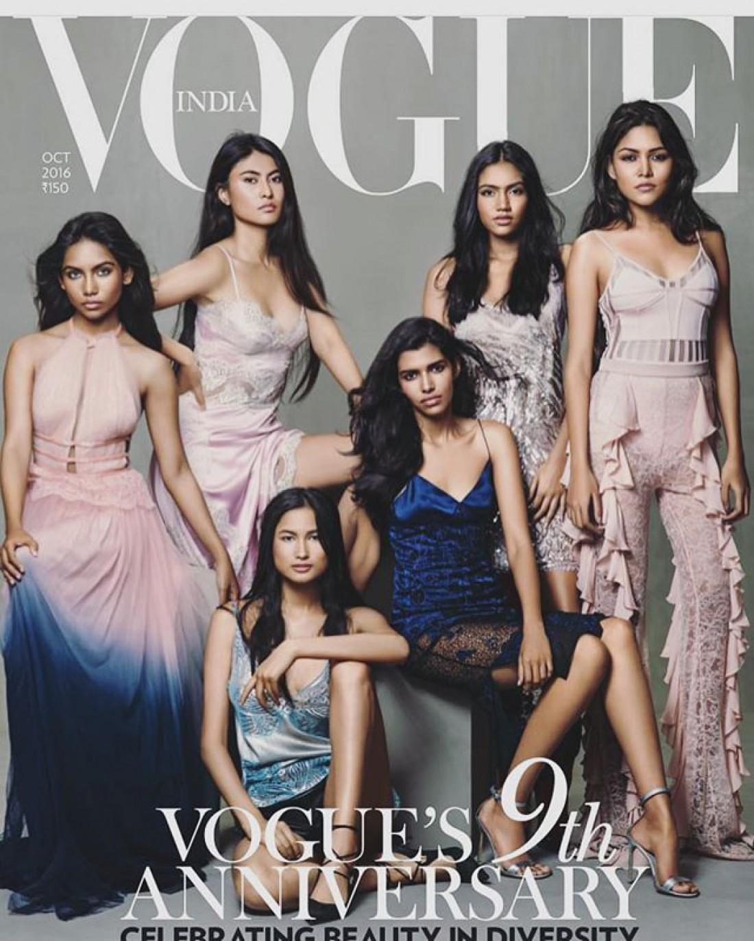 Обложка Vogue за октябрь 2016 год. Рауда запечатлена первой слева
