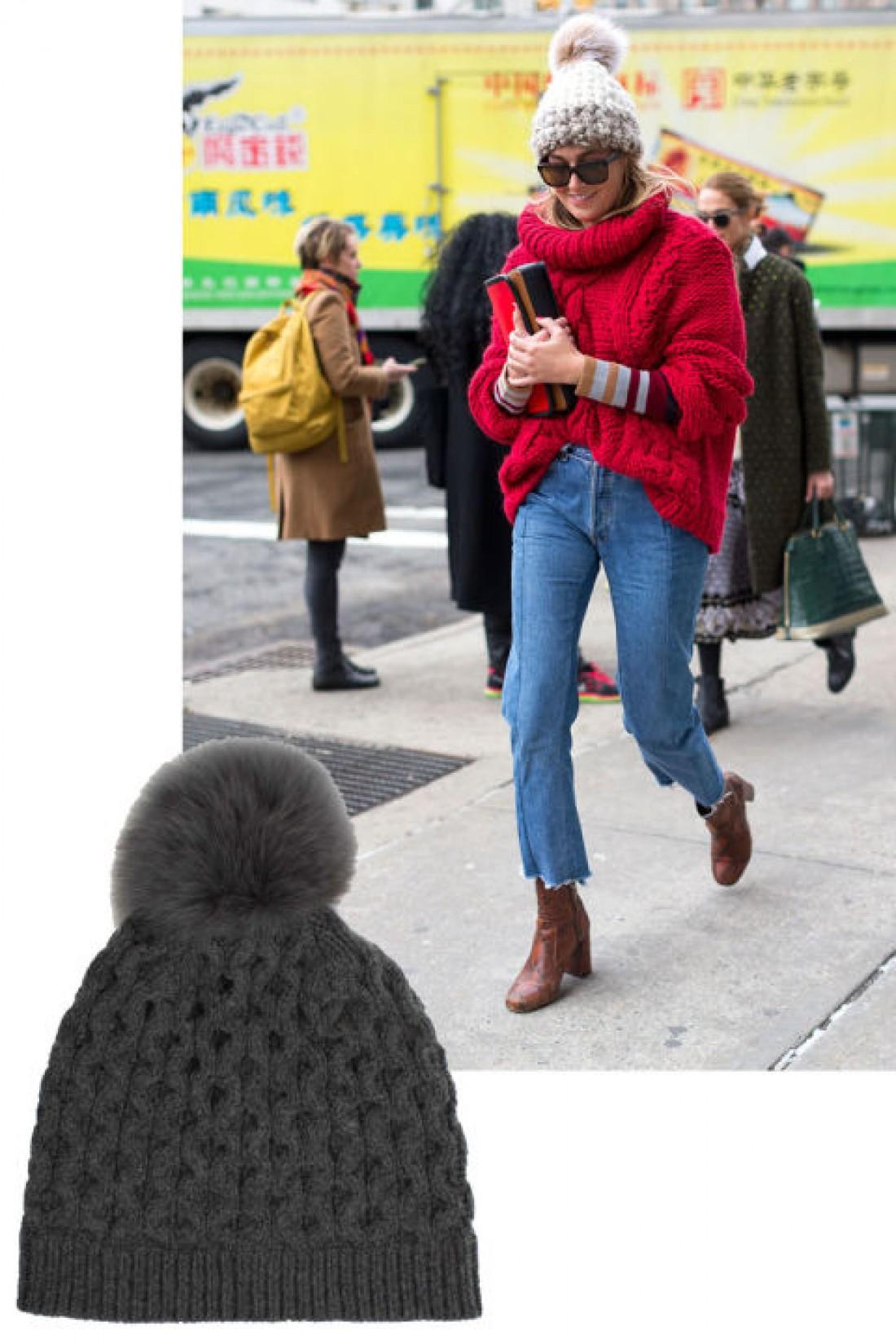 Модные головные уборы 2016: шапка с помпоном