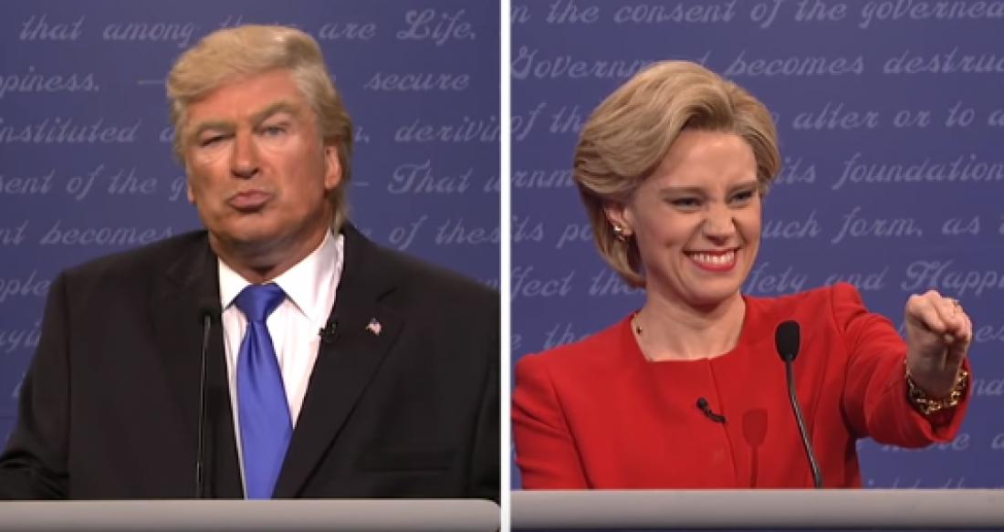 Дональд Трамп (Алек Болдуин) и Хиллари Клинтон (Кейт Маккиннон)