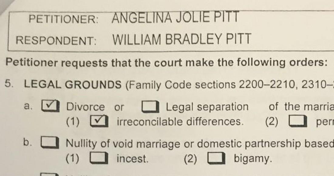 Документы о разводе Анджолины Джоли и Брэда Питта