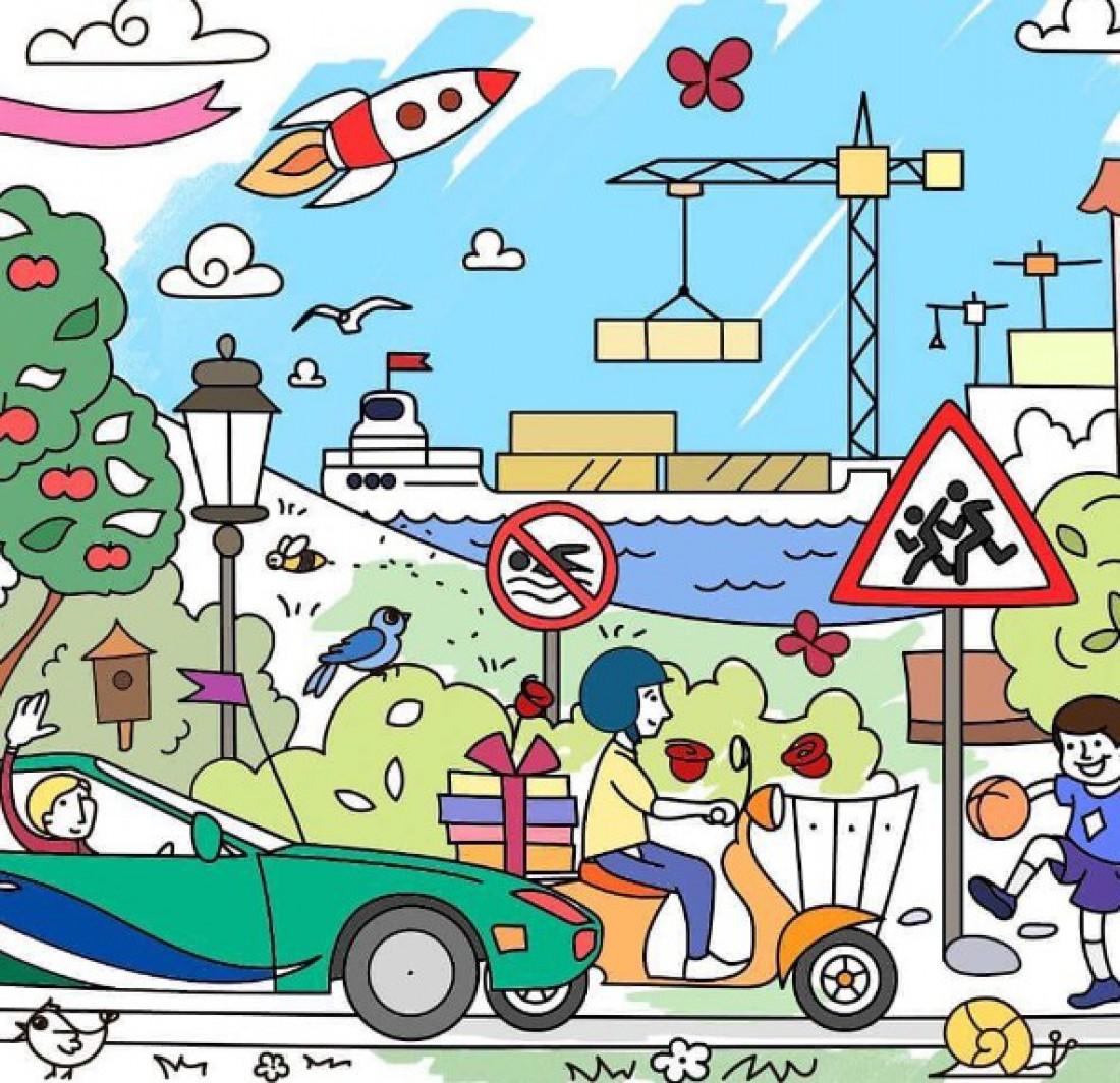 Карманная раскраска Автопарк