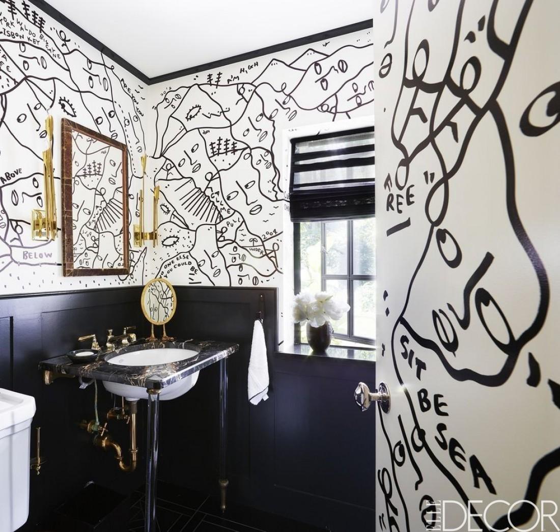 Идеи для оформления ванны в черном и белом цветах