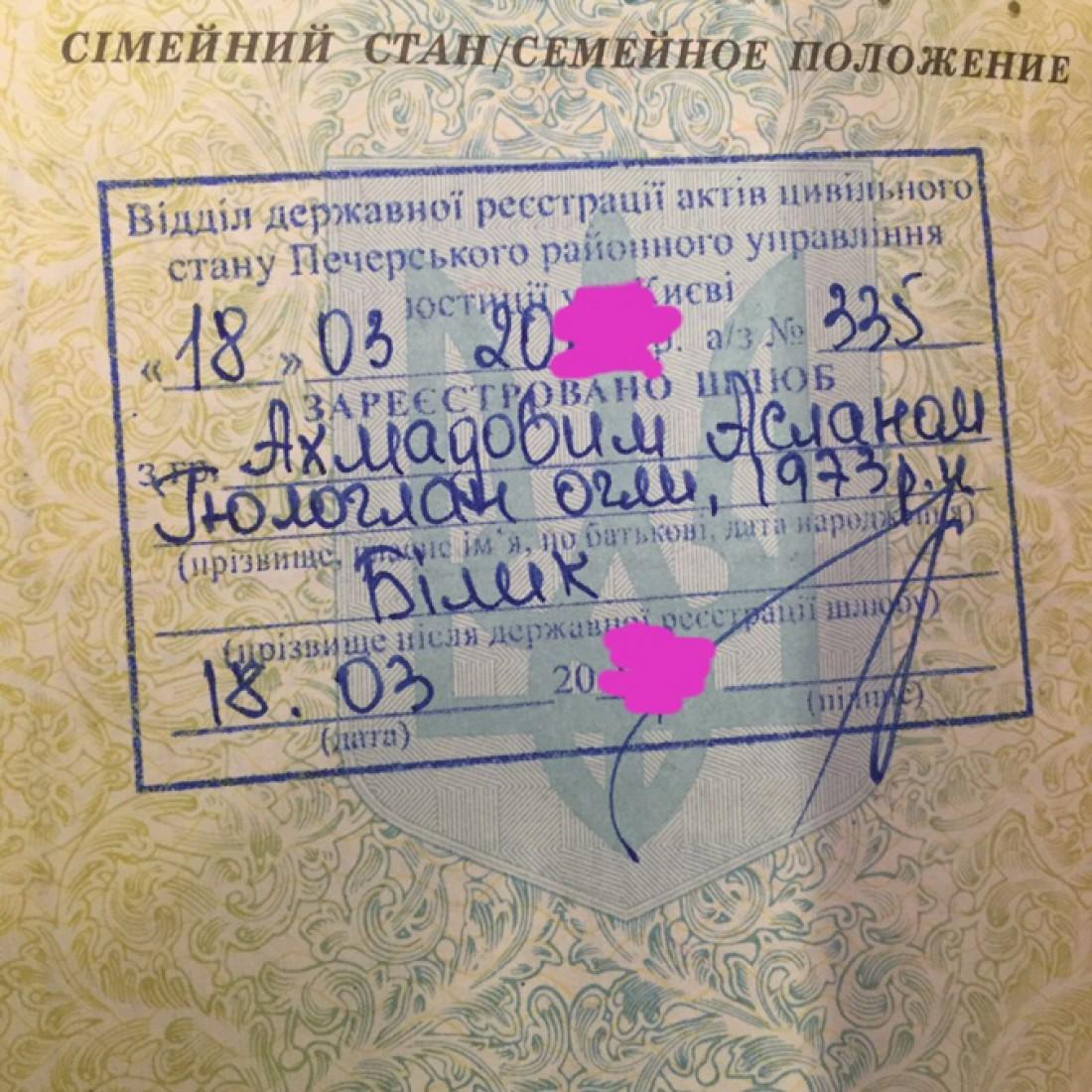 Штамп в паспорте Ирины Билык