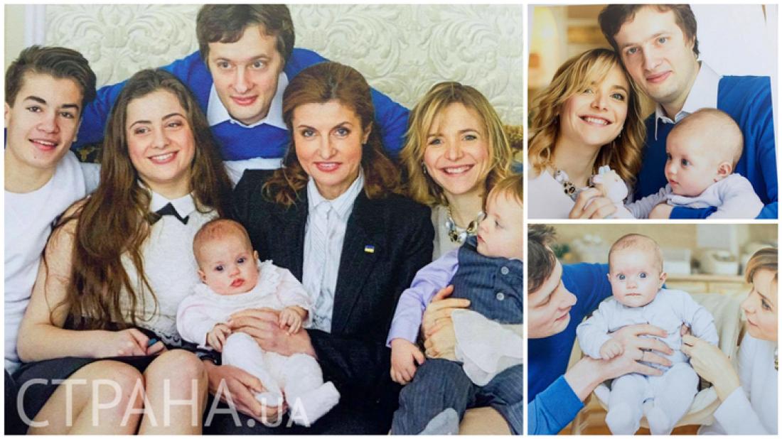 Марина Порошенко с внучкой Лизой (по центру), своими детьми (слева направо): сыновьями Мишей и Алексеем, дочкой Сашей и невесткой Юлей (справа)