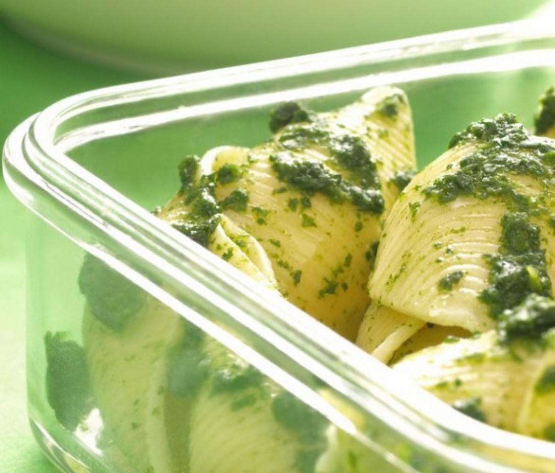 Макароны-ракушки со шпинатом