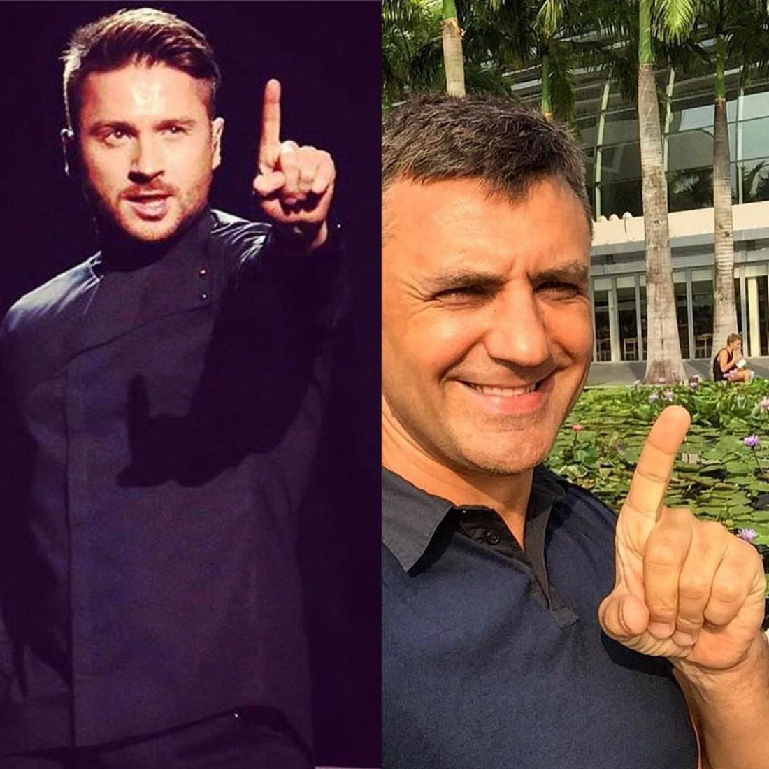 Сергей Лазарев (фрагмент с выступления певца на первом полуфинале Евровидения 2016) и Николай Тищенко (справа). Фото опубликовала Цыбульская в Сети