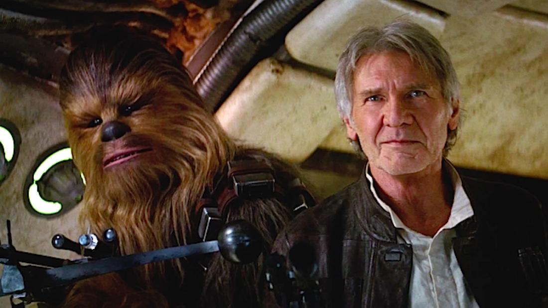Кадр из фильма Звездные войны: Пробуждение силы. Справа актер Харрисон Форд