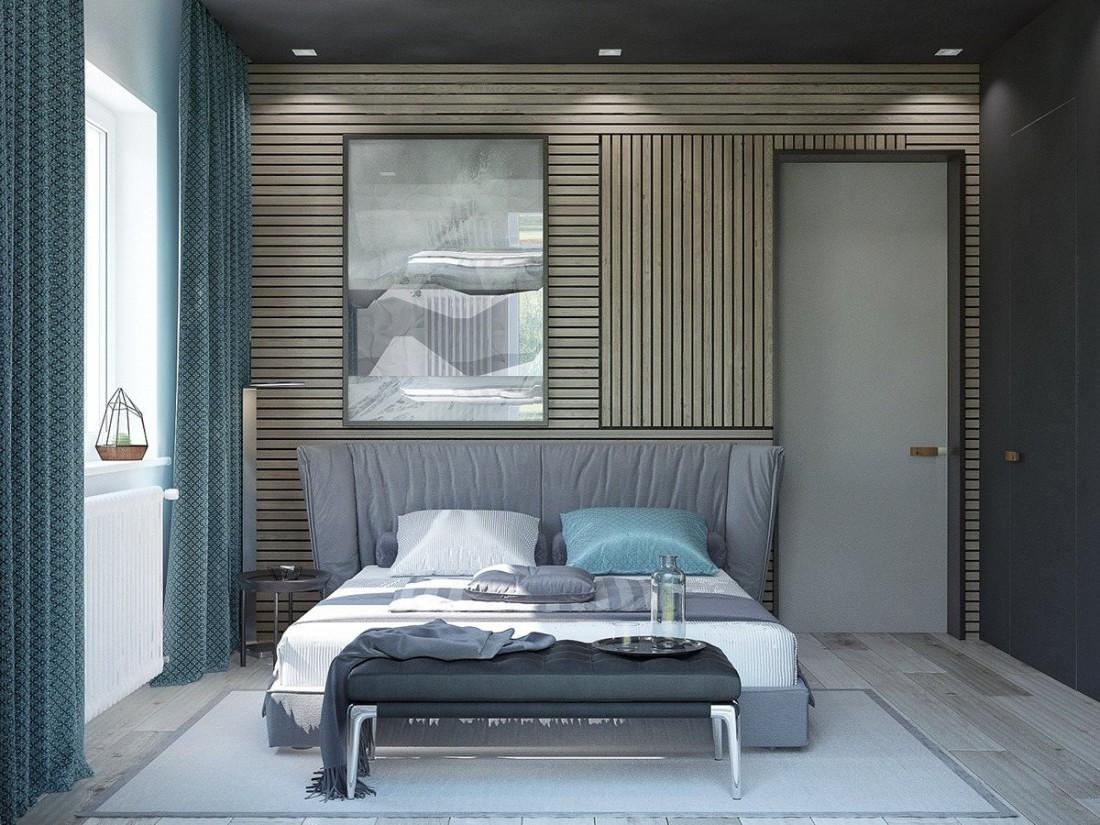 Спальня с деревянной отделкой