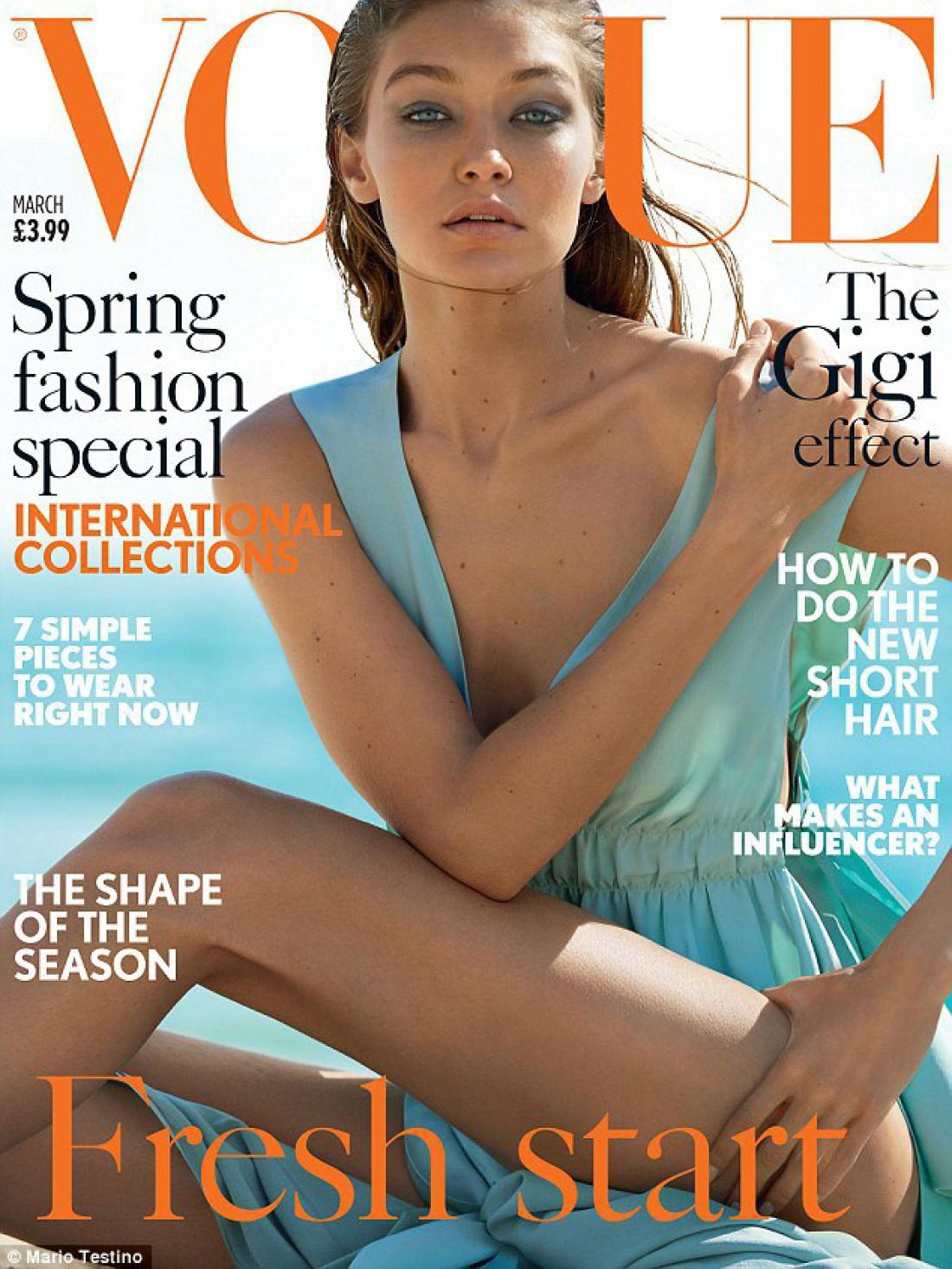 Топ-модель Джиджи Хадид на обложке Vogue UK