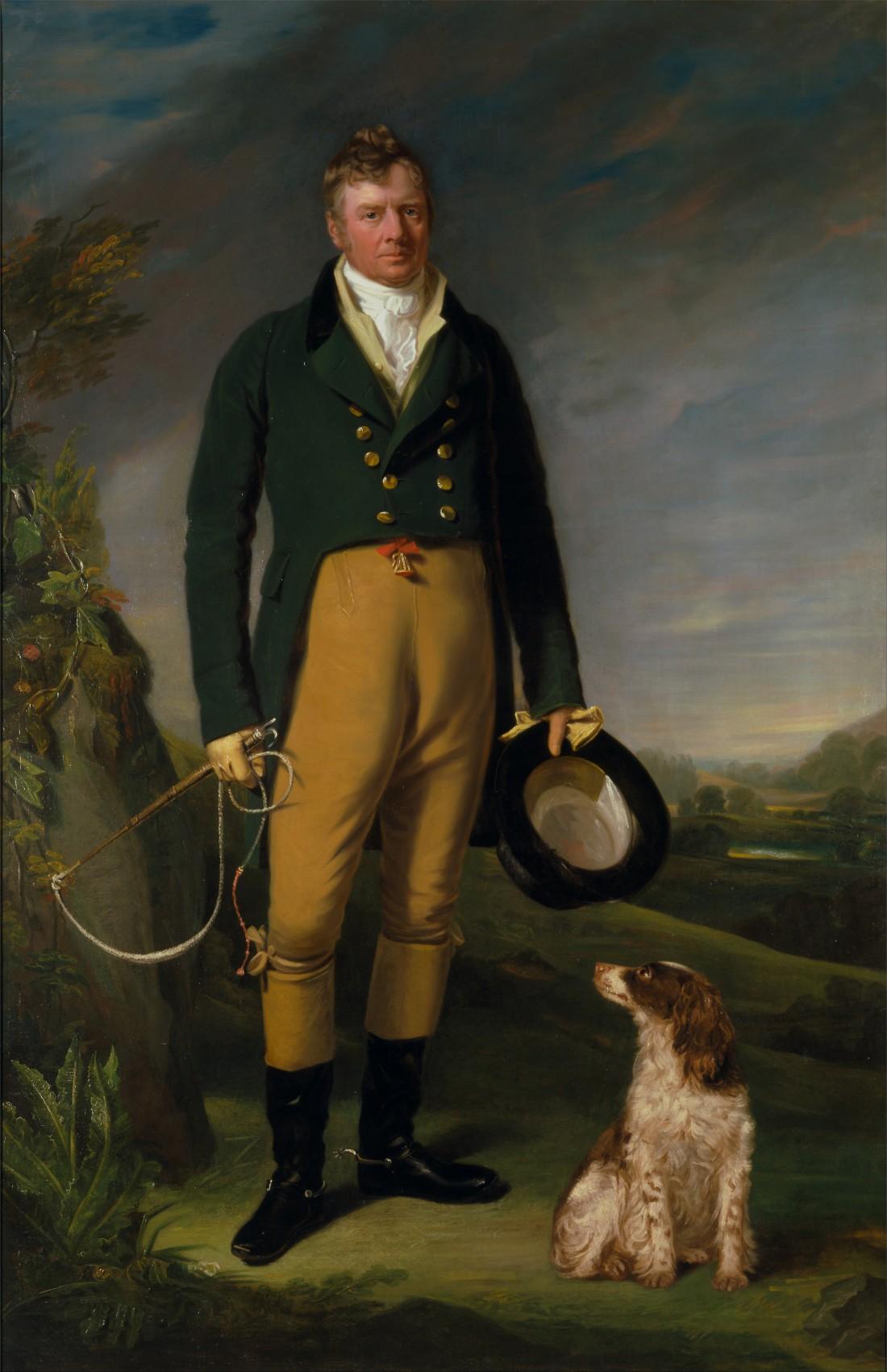 Неизвестный мужчина со своей собакой, Уильям Оуэн (1815)